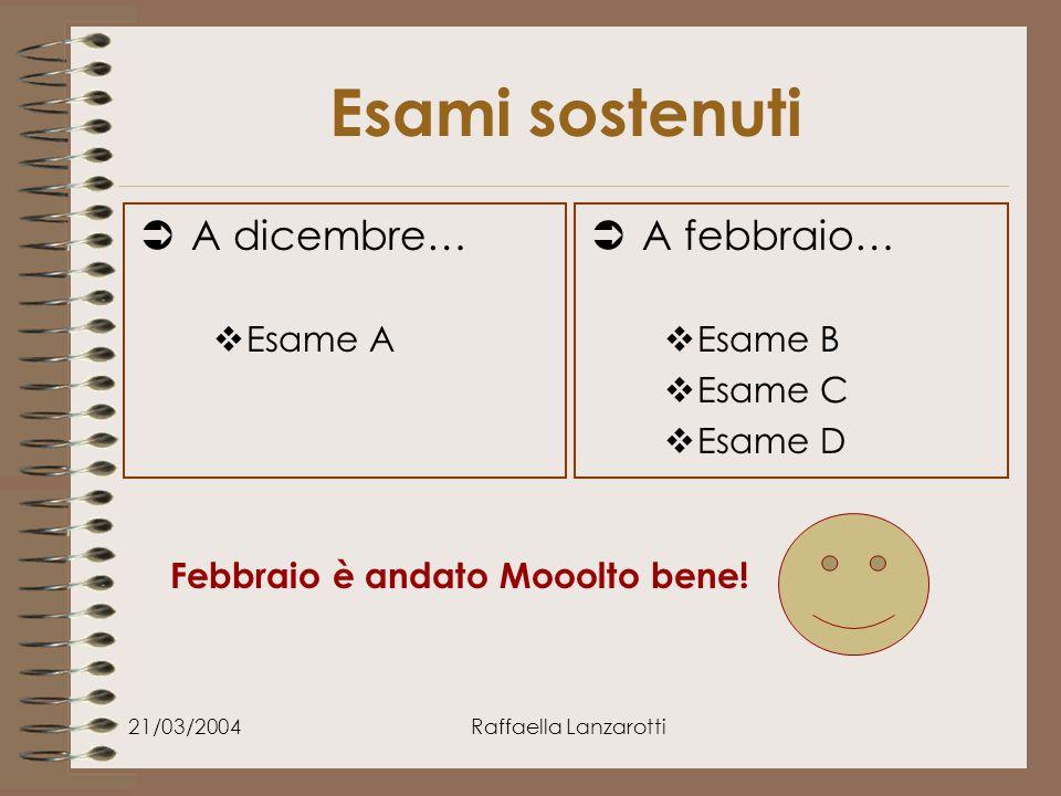 21/03/2004Raffaella Lanzarotti Esami sostenuti  A dicembre…  Esame A  A febbraio…  Esame B  Esame C  Esame D Febbraio è andato Mooolto bene!