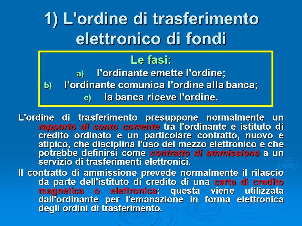 1) L'ordine di trasferimento elettronico di fondi Le fasi: a) l'ordinante emette l'ordine; b) l'ordinante comunica l'ordine alla banca; c) la banca ri