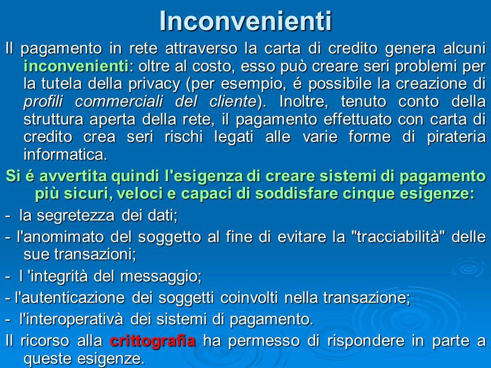 Inconvenienti Il pagamento in rete attraverso la carta di credito genera alcuni inconvenienti: oltre al costo, esso può creare seri problemi per la tu