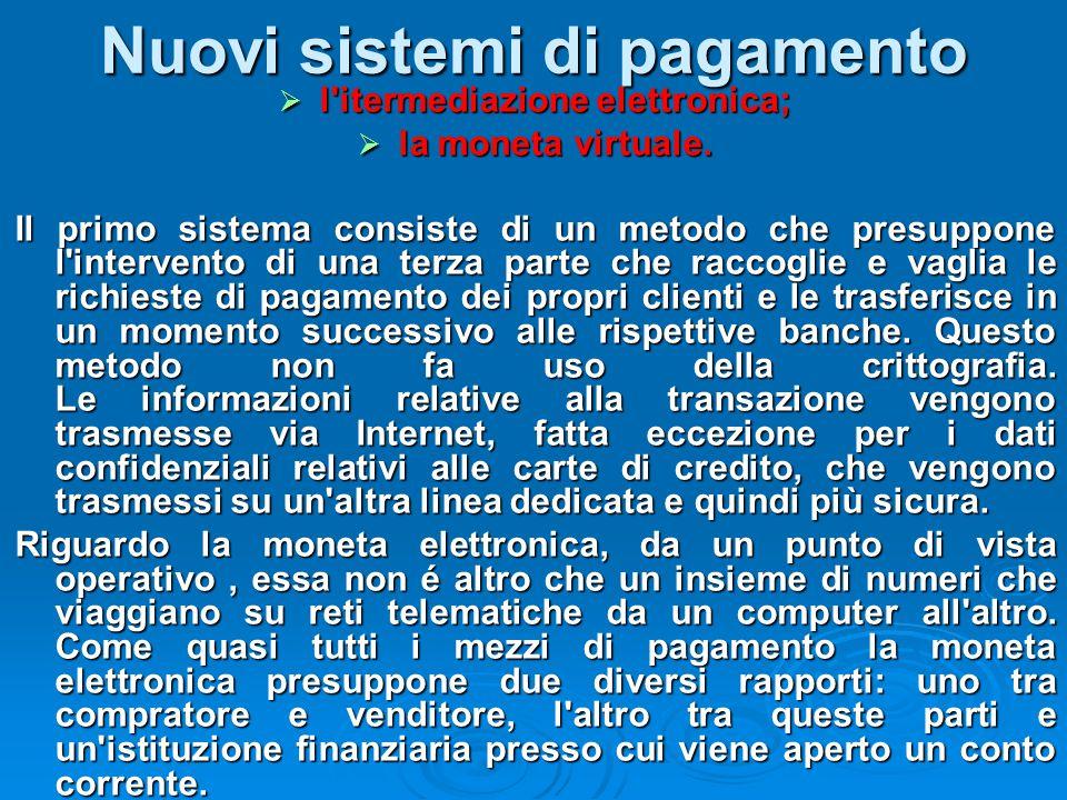 Nuovi sistemi di pagamento  l'itermediazione elettronica;  la moneta virtuale. Il primo sistema consiste di un metodo che presuppone l'intervento di