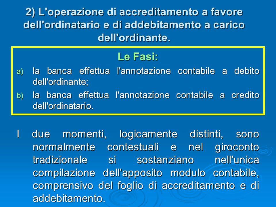 2) L'operazione di accreditamento a favore dell'ordinatario e di addebitamento a carico dell'ordinante. Le Fasi: a) la banca effettua l'annotazione co