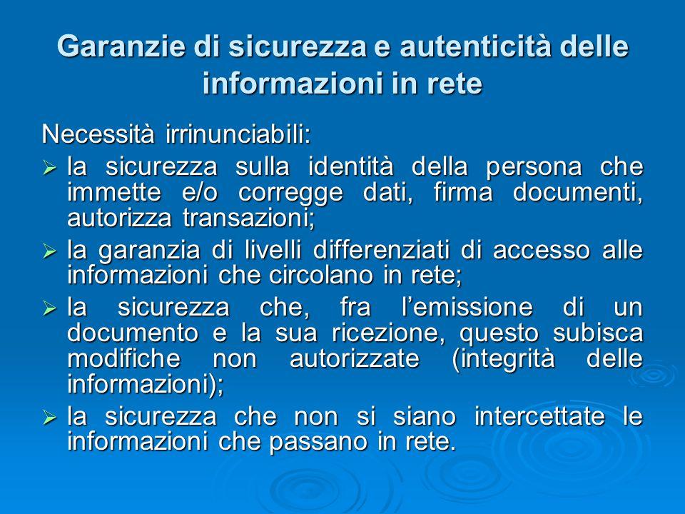 Garanzie di sicurezza e autenticità delle informazioni in rete Necessità irrinunciabili:  la sicurezza sulla identità della persona che immette e/o c