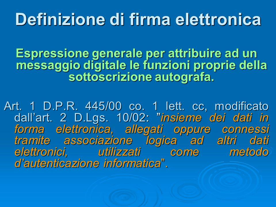 Definizione di firma elettronica Espressione generale per attribuire ad un messaggio digitale le funzioni proprie della sottoscrizione autografa. Art.