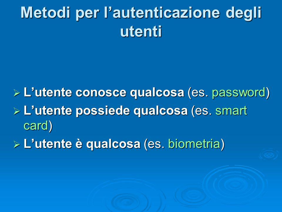 Metodi per l'autenticazione degli utenti  L'utente conosce qualcosa (es. password)  L'utente possiede qualcosa (es. smart card)  L'utente è qualcos