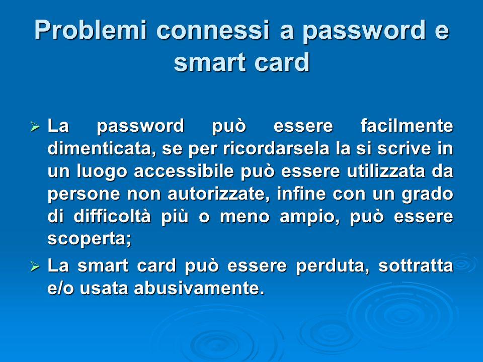 Problemi connessi a password e smart card  La password può essere facilmente dimenticata, se per ricordarsela la si scrive in un luogo accessibile pu