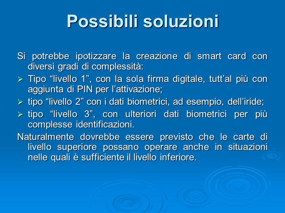 """Possibili soluzioni Si potrebbe ipotizzare la creazione di smart card con diversi gradi di complessità:  Tipo """"livello 1"""", con la sola firma digitale"""