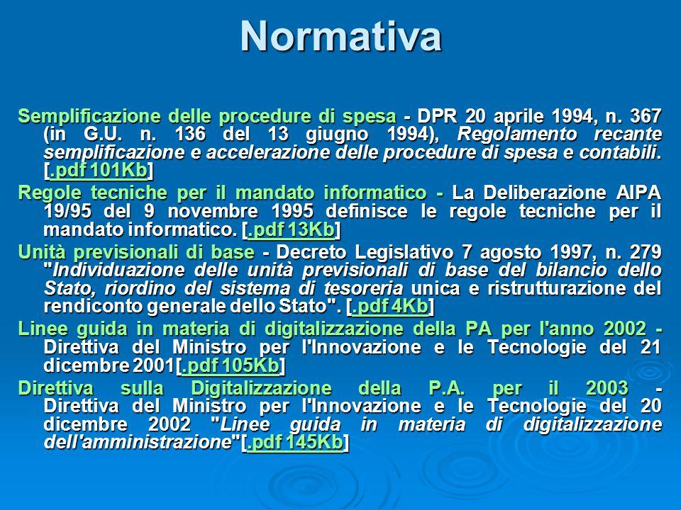 Normativa Semplificazione delle procedure di spesa - DPR 20 aprile 1994, n. 367 (in G.U. n. 136 del 13 giugno 1994), Regolamento recante semplificazio