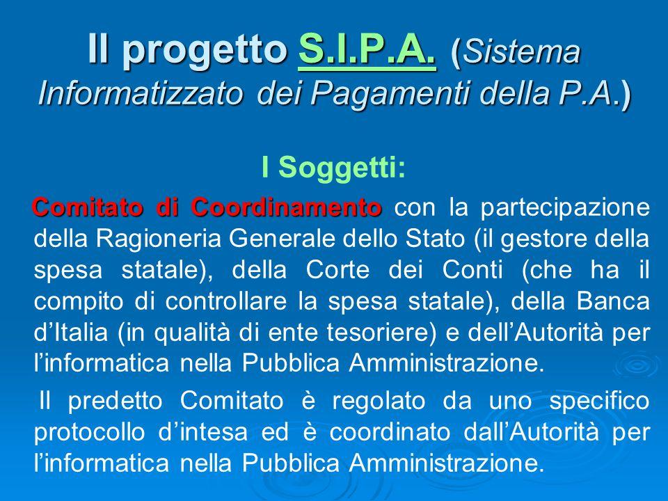 Il progetto S.I.P.A. (Sistema Informatizzato dei Pagamenti della P.A.) S.I.P.A.S.I.P.A. I Soggetti: Comitato di Coordinamento Comitato di Coordinament