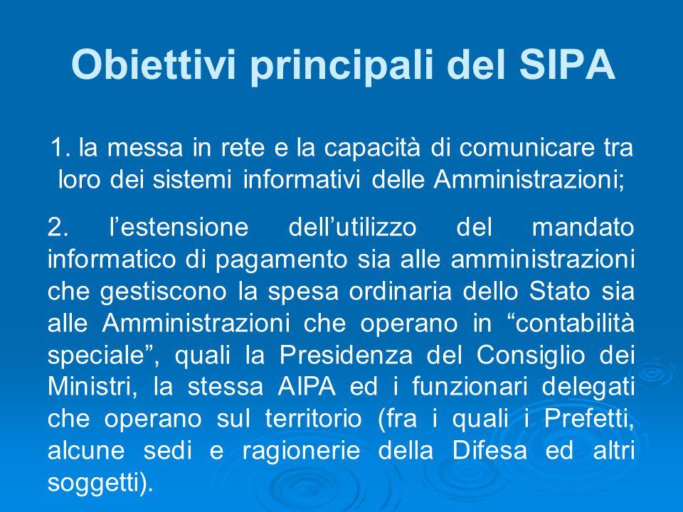 Obiettivi principali del SIPA 1. la messa in rete e la capacità di comunicare tra loro dei sistemi informativi delle Amministrazioni; 2. l'estensione