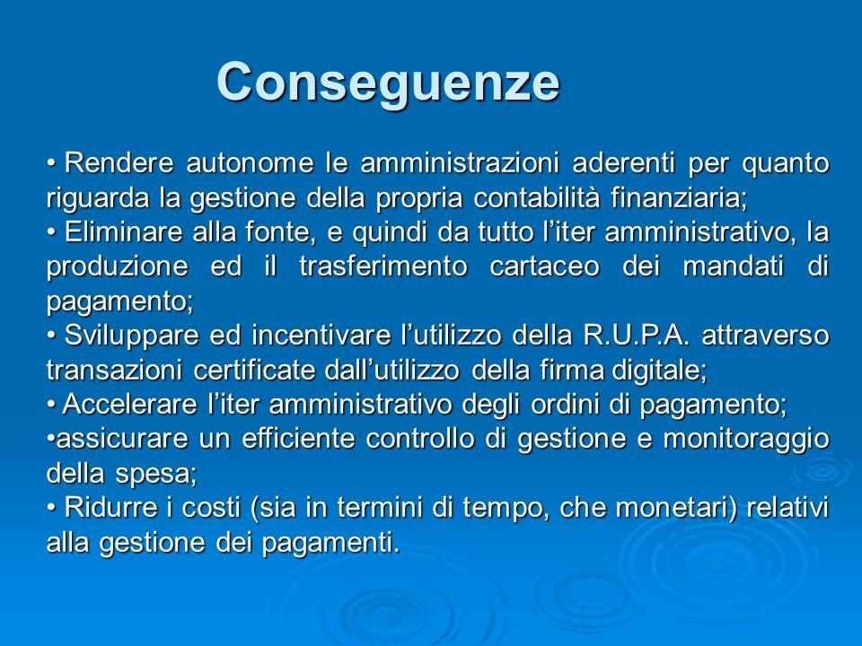 Conseguenze Rendere autonome le amministrazioni aderenti per quanto riguarda la gestione della propria contabilità finanziaria; Rendere autonome le am