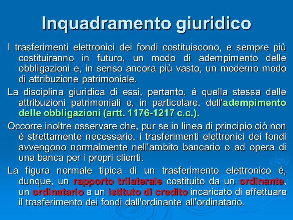 Inquadramento giuridico I trasferimenti elettronici dei fondi costituiscono, e sempre più costituiranno in futuro, un modo di adempimento delle obblig