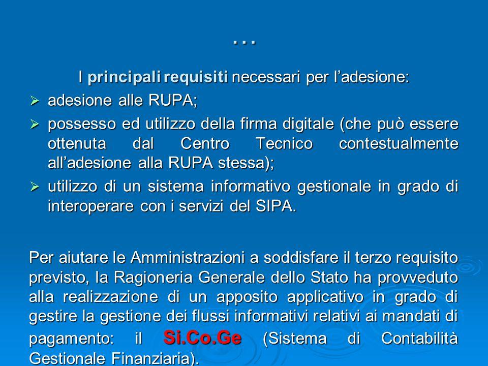 … I principali requisiti necessari per l'adesione:  adesione alle RUPA;  possesso ed utilizzo della firma digitale (che può essere ottenuta dal Cent