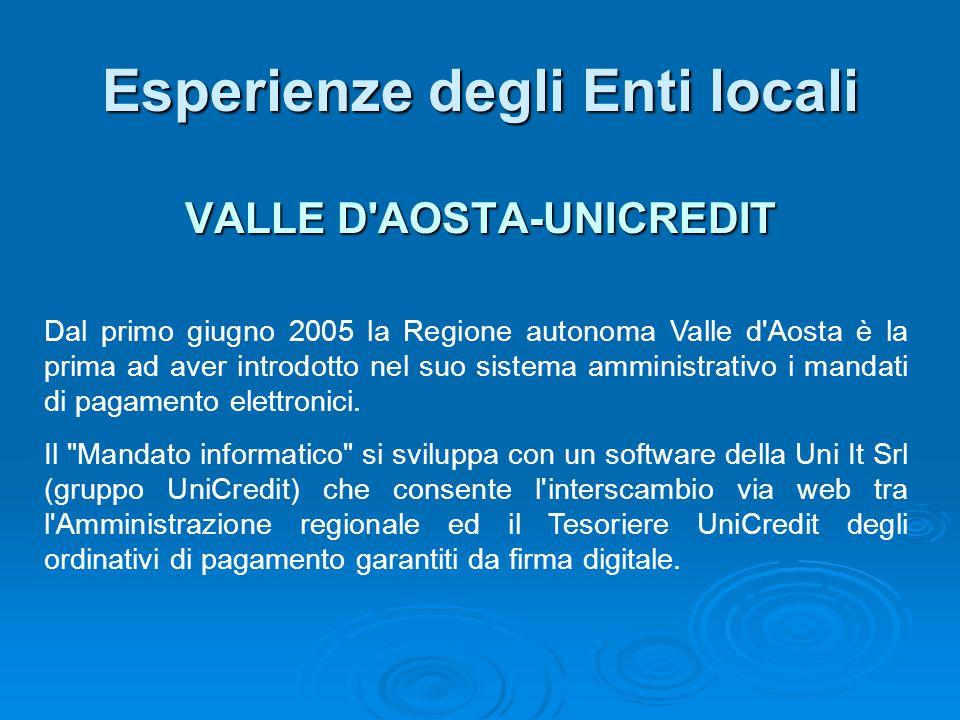 VALLE D'AOSTA-UNICREDIT Esperienze degli Enti locali Dal primo giugno 2005 la Regione autonoma Valle d'Aosta è la prima ad aver introdotto nel suo sis