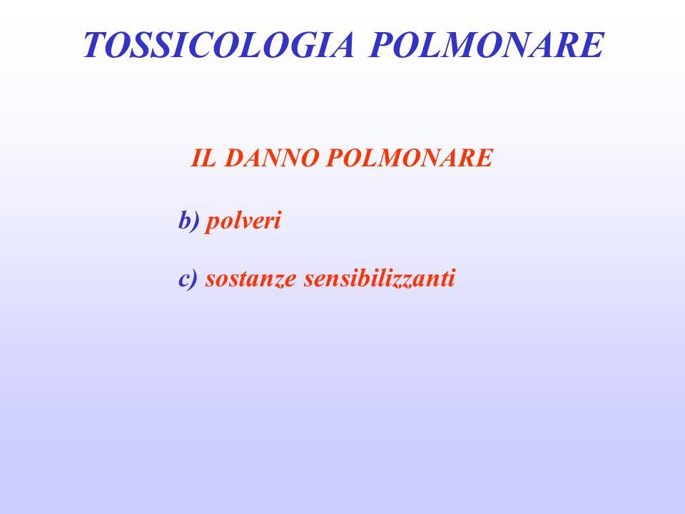 IL DANNO POLMONARE b) polveri c) sostanze sensibilizzanti TOSSICOLOGIA POLMONARE