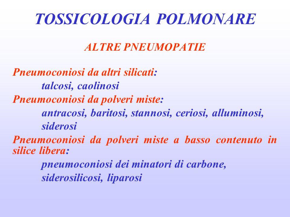ALTRE PNEUMOPATIE Pneumoconiosi da altri silicati: talcosi, caolinosi Pneumoconiosi da polveri miste: antracosi, baritosi, stannosi, ceriosi, allumino
