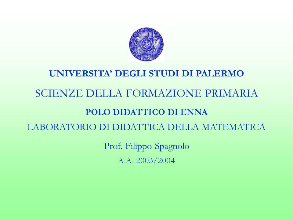 UNIVERSITA' DEGLI STUDI DI PALERMO SCIENZE DELLA FORMAZIONE PRIMARIA POLO DIDATTICO DI ENNA LABORATORIO DI DIDATTICA DELLA MATEMATICA Prof.
