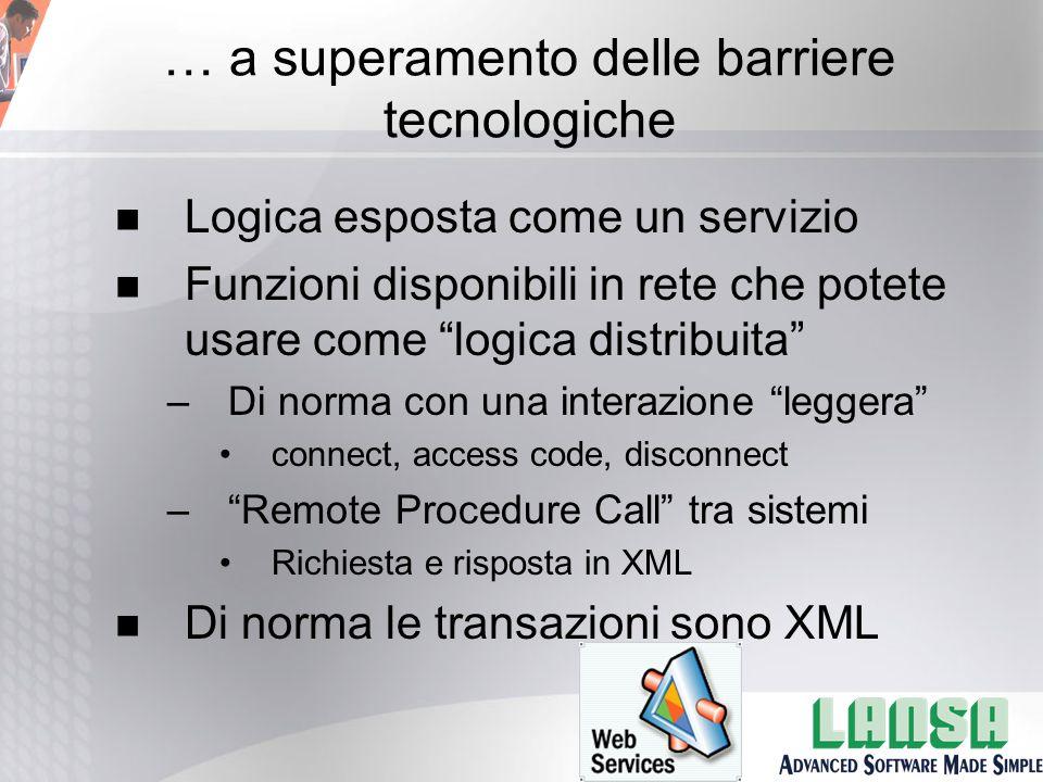 … a superamento delle barriere tecnologiche n Logica esposta come un servizio n Funzioni disponibili in rete che potete usare come logica distribuita –Di norma con una interazione leggera connect, access code, disconnect – Remote Procedure Call tra sistemi Richiesta e risposta in XML n Di norma le transazioni sono XML