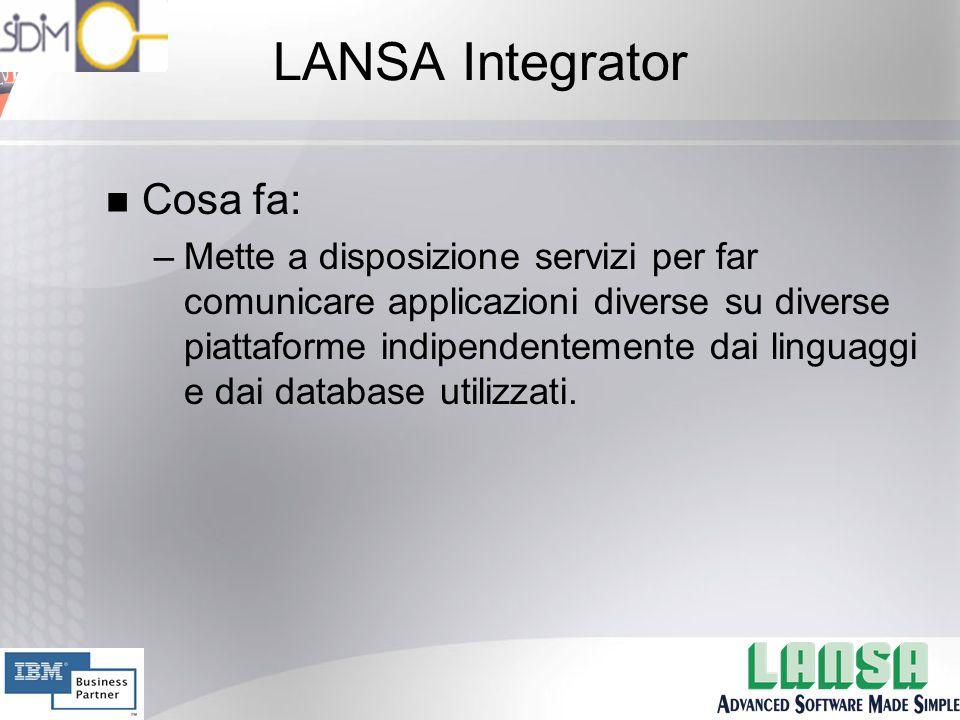 LANSA Integrator n Cosa fa: –Mette a disposizione servizi per far comunicare applicazioni diverse su diverse piattaforme indipendentemente dai linguaggi e dai database utilizzati.