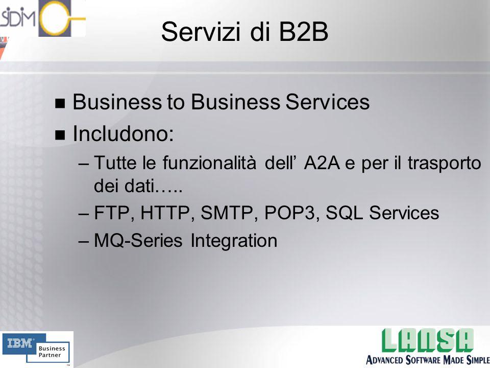 Servizi di B2B n Business to Business Services n Includono: –Tutte le funzionalità dell' A2A e per il trasporto dei dati…..