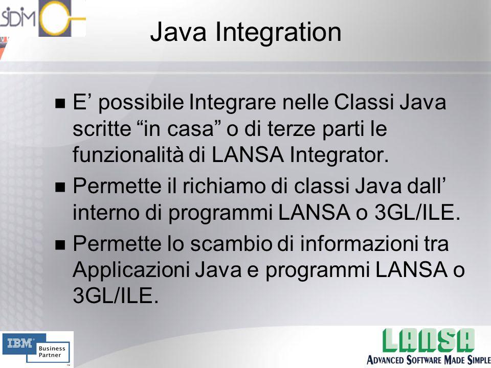 Java Integration n E' possibile Integrare nelle Classi Java scritte in casa o di terze parti le funzionalità di LANSA Integrator.