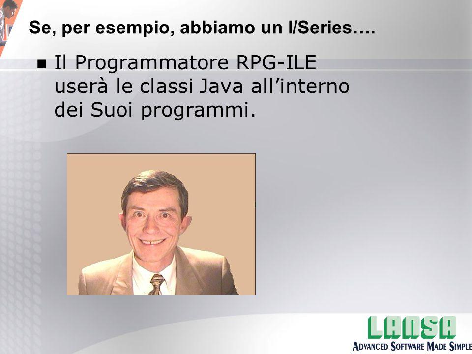 n Il Programmatore RPG-ILE userà le classi Java all'interno dei Suoi programmi.