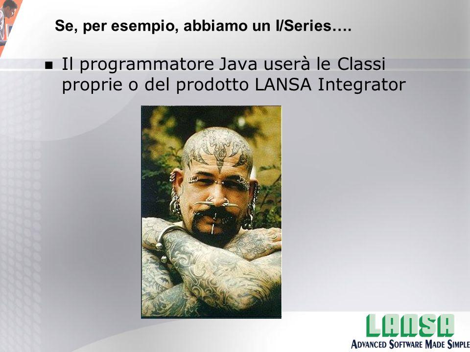 n Il programmatore Java userà le Classi proprie o del prodotto LANSA Integrator Se, per esempio, abbiamo un I/Series….