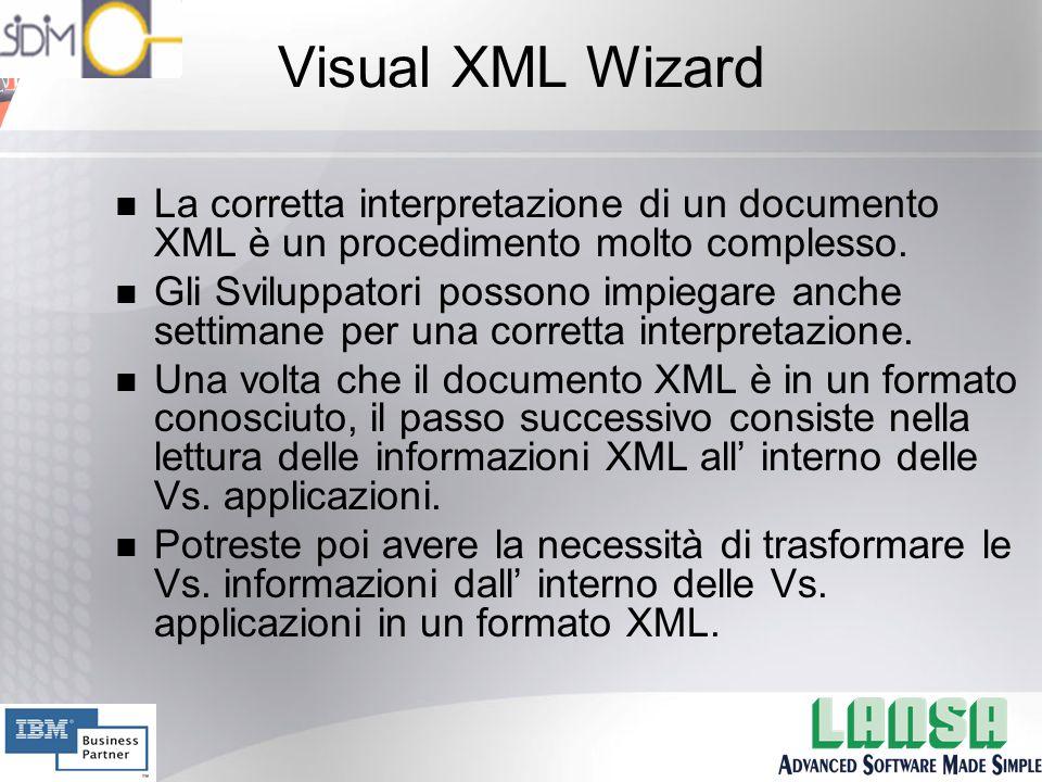 Visual XML Wizard n La corretta interpretazione di un documento XML è un procedimento molto complesso.