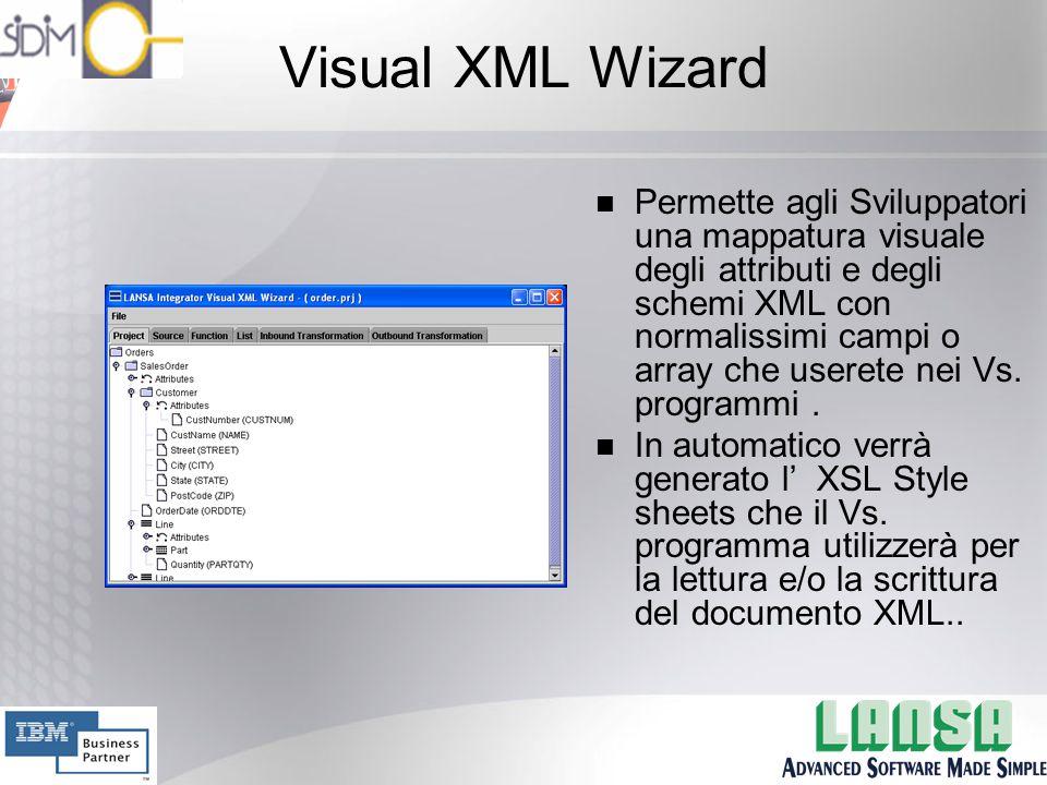 Visual XML Wizard n Permette agli Sviluppatori una mappatura visuale degli attributi e degli schemi XML con normalissimi campi o array che userete nei Vs.