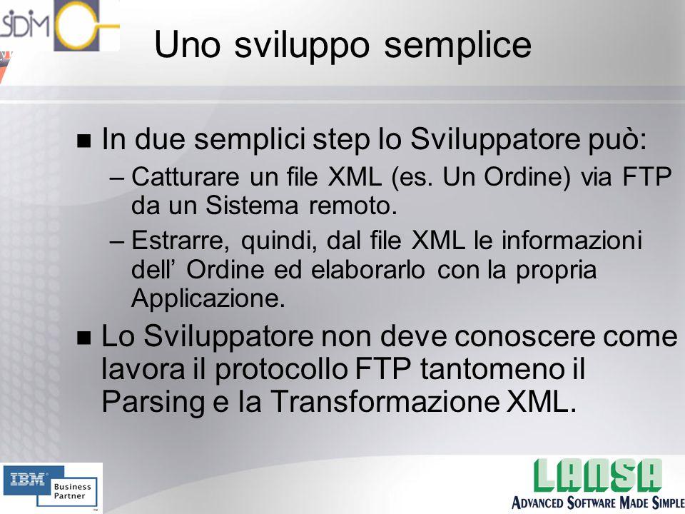 Uno sviluppo semplice n In due semplici step lo Sviluppatore può: –Catturare un file XML (es.