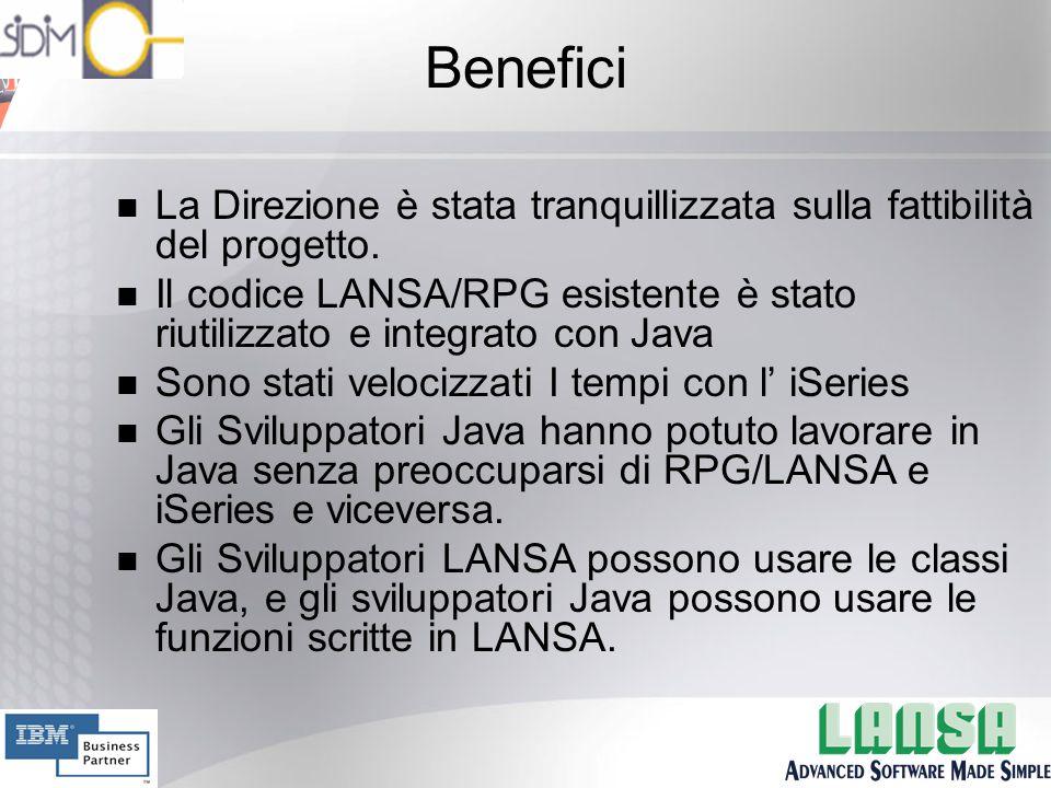 Benefici n La Direzione è stata tranquillizzata sulla fattibilità del progetto.
