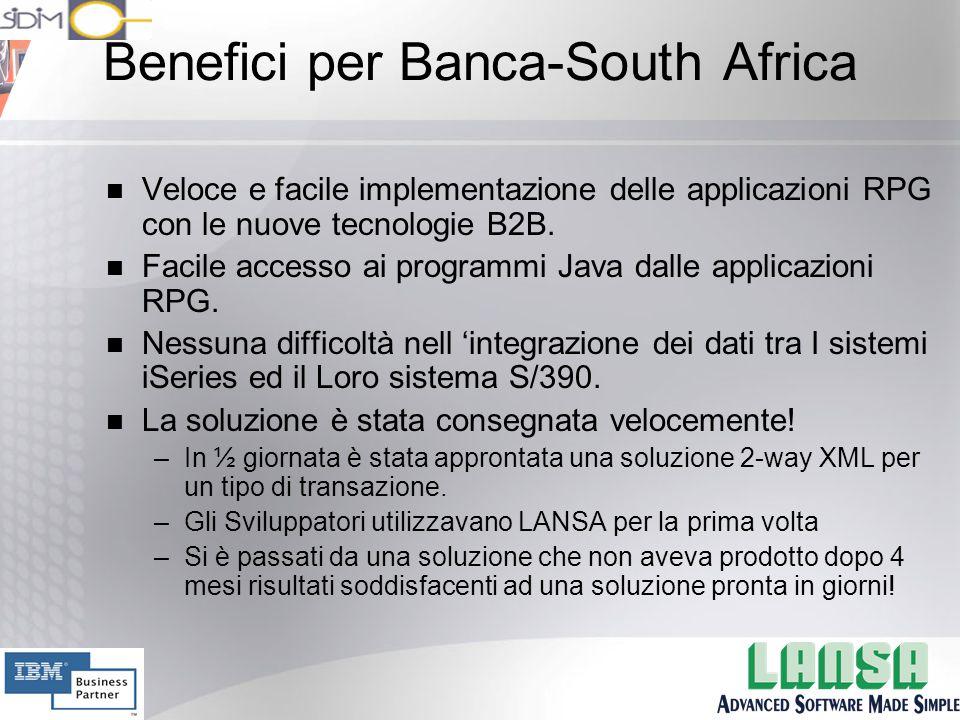 Benefici per Banca-South Africa n Veloce e facile implementazione delle applicazioni RPG con le nuove tecnologie B2B.