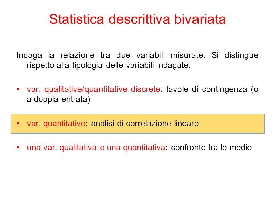 Statistica descrittiva bivariata Indaga la relazione tra due variabili misurate.