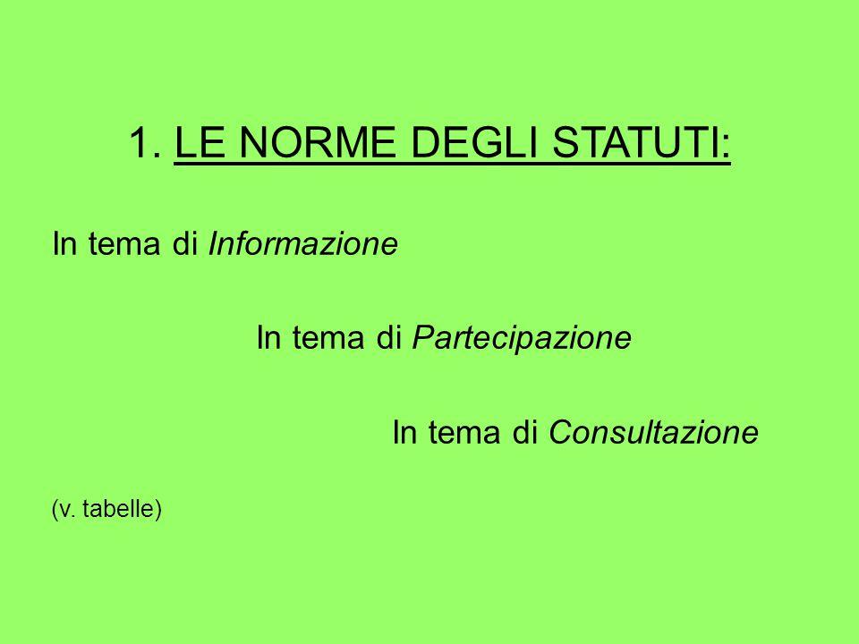 1. LE NORME DEGLI STATUTI: In tema di Informazione In tema di Partecipazione In tema di Consultazione (v. tabelle)