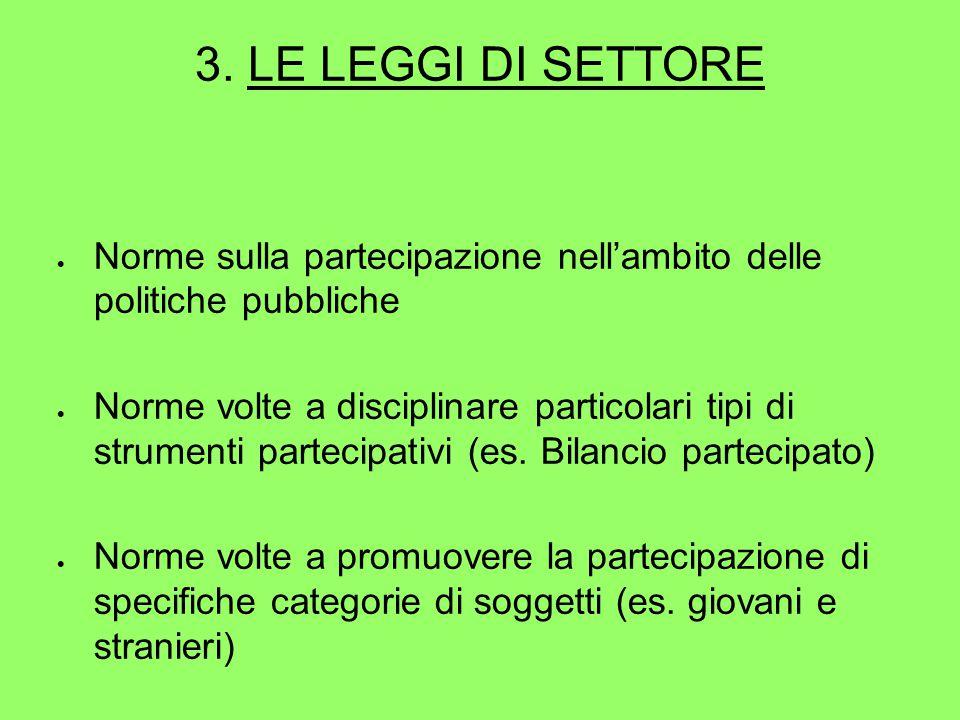 3. LE LEGGI DI SETTORE  Norme sulla partecipazione nell'ambito delle politiche pubbliche  Norme volte a disciplinare particolari tipi di strumenti p