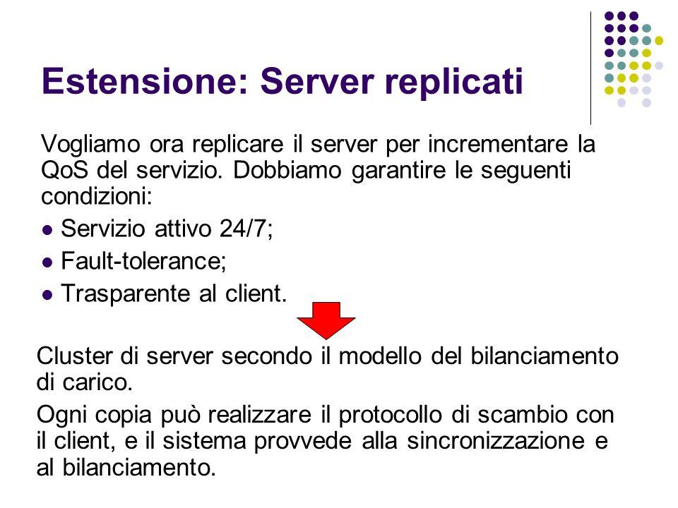 Estensione: Server replicati Vogliamo ora replicare il server per incrementare la QoS del servizio.