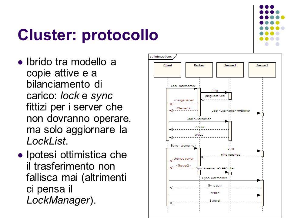 Cluster: protocollo Ibrido tra modello a copie attive e a bilanciamento di carico: lock e sync fittizi per i server che non dovranno operare, ma solo aggiornare la LockList.