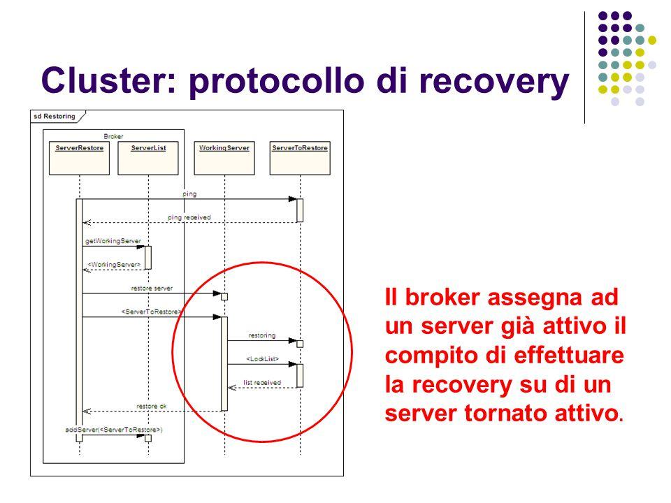 Cluster: protocollo di recovery Il broker assegna ad un server già attivo il compito di effettuare la recovery su di un server tornato attivo.