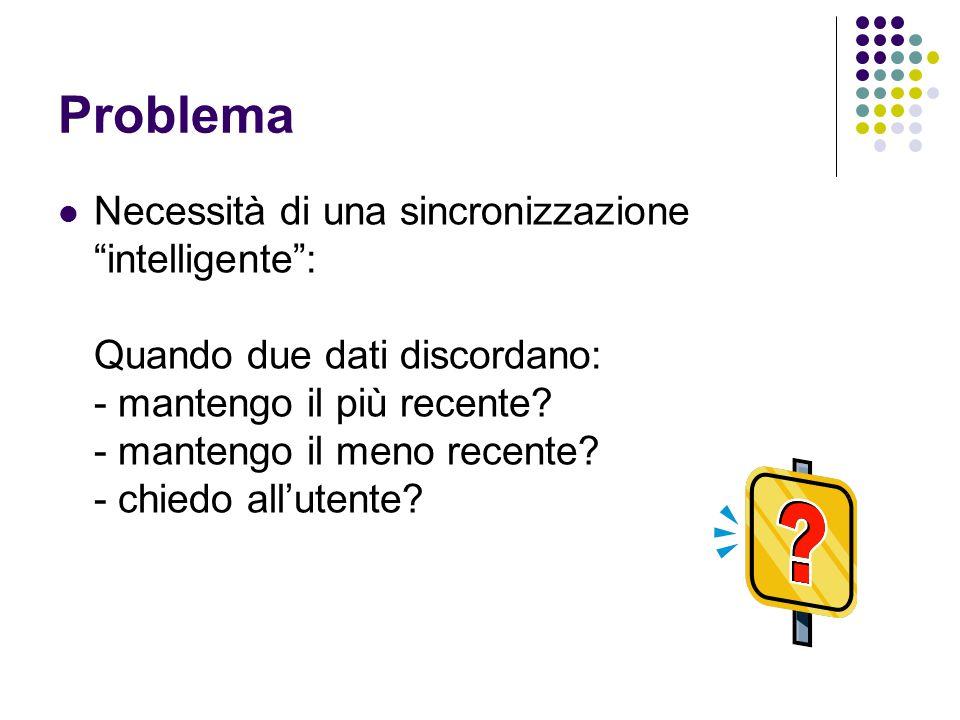 Problema Necessità di una sincronizzazione intelligente : Quando due dati discordano: - mantengo il più recente.