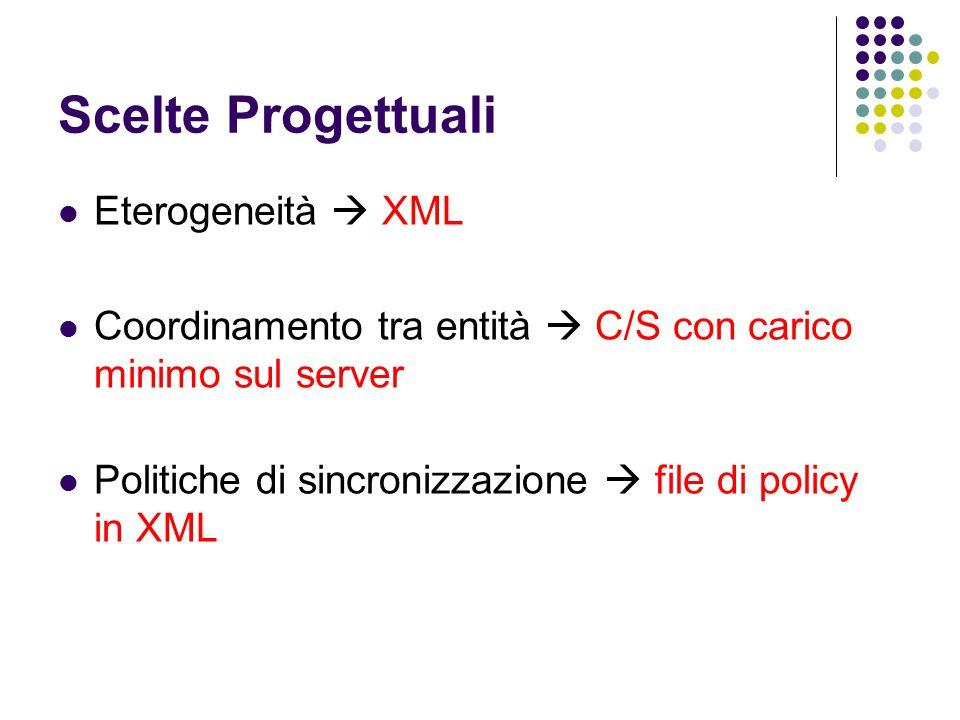 Scelte Progettuali Eterogeneità  XML Coordinamento tra entità  C/S con carico minimo sul server Politiche di sincronizzazione  file di policy in XML