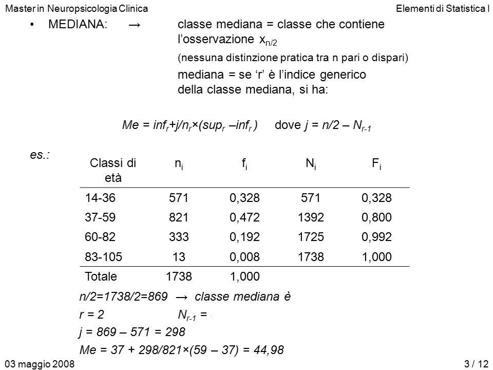 Master in Neuropsicologia ClinicaElementi di Statistica I 03 maggio 20083 / 12 MEDIANA:→classe mediana = classe che contiene l'osservazione x n/2 (nessuna distinzione pratica tra n pari o dispari) mediana = se 'r' è l'indice generico della classe mediana, si ha: Me = inf r +j/n r ×(sup r –inf r ) dove j = n/2 – N r-1 es.: n/2=1738/2=869 → classe mediana è 37–59 r = 2N r-1 = 571 j = 869 – 571 = 298 Me = 37 + 298/821×(59 – 37) = 44,98 Classi di età nini fifi NiNi FiFi 14-36 571 0,3285710,328 37-59 821 0,47213920,800 60-82 333 0,19217250,992 83-105 13 0,00817381,000 Totale 1738 1,000