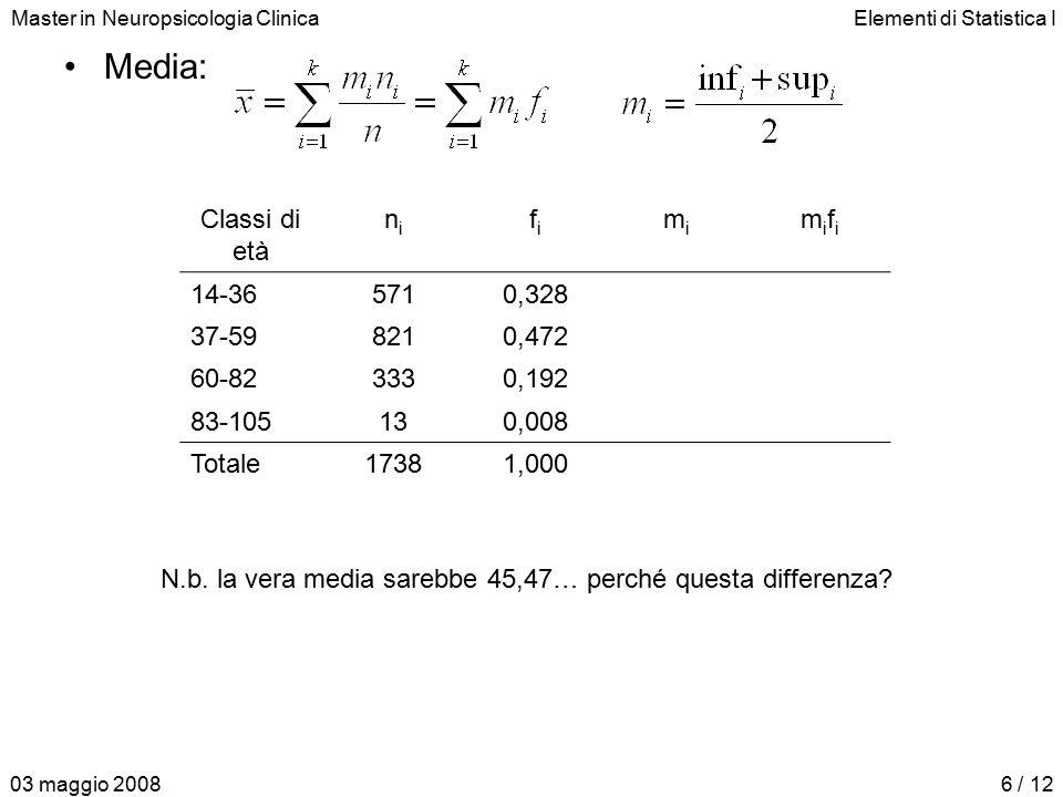 Master in Neuropsicologia ClinicaElementi di Statistica I 03 maggio 20086 / 12 Media: Classi di età nini fifi mimi mifimifi 14-365710,328258,200 37-598210,4724822,656 60-823330,1927113,632 83-105130,008940,752 Totale17381,00045,240 N.b.