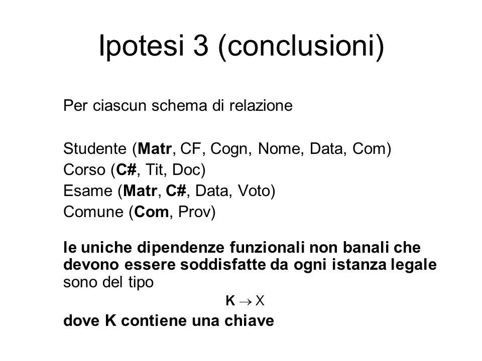 Ipotesi 3 (conclusioni) Per ciascun schema di relazione Studente (Matr, CF, Cogn, Nome, Data, Com) Corso (C#, Tit, Doc) Esame (Matr, C#, Data, Voto) C