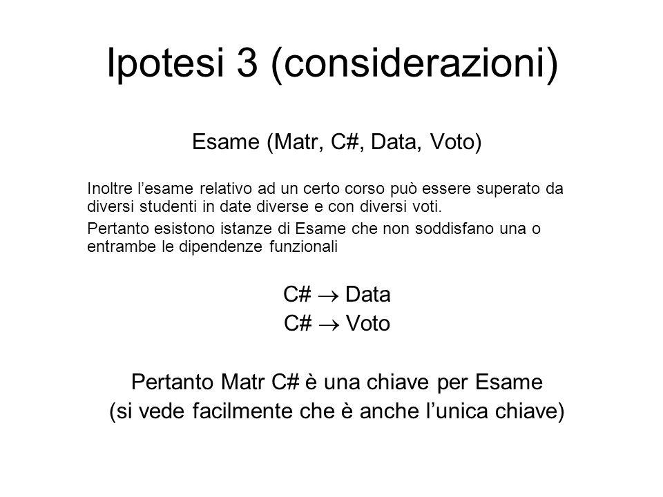 Ipotesi 3 (conclusioni) Per ciascun schema di relazione Studente (Matr, CF, Cogn, Nome, Data, Com) Corso (C#, Tit, Doc) Esame (Matr, C#, Data, Voto) Comune (Com, Prov) le uniche dipendenze funzionali non banali che devono essere soddisfatte da ogni istanza legale sono del tipo K  X dove K contiene una chiave