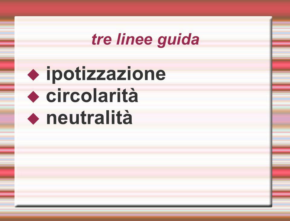 tre linee guida  ipotizzazione  circolarità  neutralità