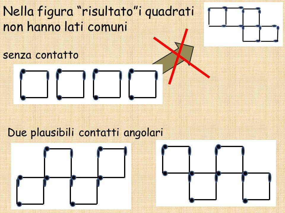 """Nella figura """"risultato""""i quadrati non hanno lati comuni senza contatto Due plausibili contatti angolari"""