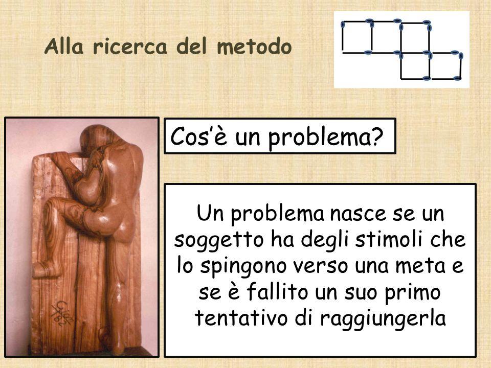Alla ricerca del metodo Cos'è un problema? Un problema nasce se un soggetto ha degli stimoli che lo spingono verso una meta e se è fallito un suo prim