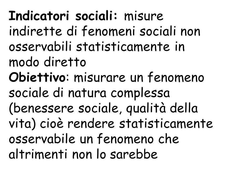Indicatori sociali: misure indirette di fenomeni sociali non osservabili statisticamente in modo diretto Obiettivo: misurare un fenomeno sociale di natura complessa (benessere sociale, qualità della vita) cioè rendere statisticamente osservabile un fenomeno che altrimenti non lo sarebbe