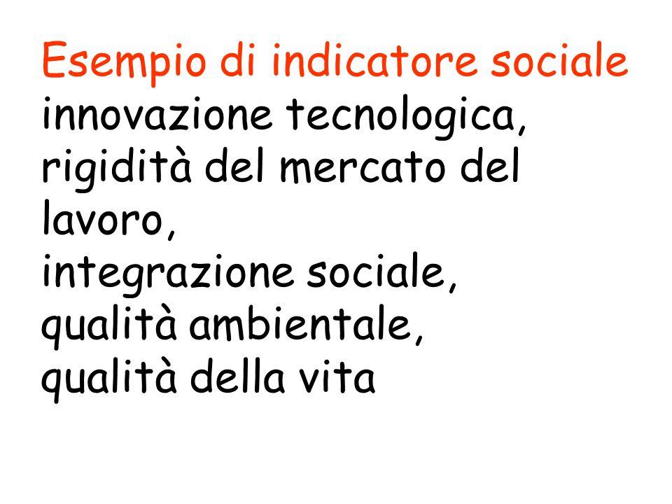Esempio di indicatore sociale innovazione tecnologica, rigidità del mercato del lavoro, integrazione sociale, qualità ambientale, qualità della vita