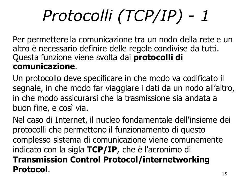 15 Protocolli (TCP/IP) - 1 Per permettere la comunicazione tra un nodo della rete e un altro è necessario definire delle regole condivise da tutti.