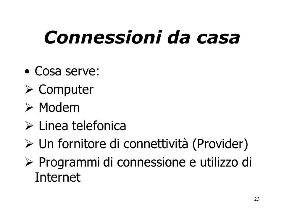 23 Connessioni da casa Cosa serve:  Computer  Modem  Linea telefonica  Un fornitore di connettività (Provider)  Programmi di connessione e utilizzo di Internet